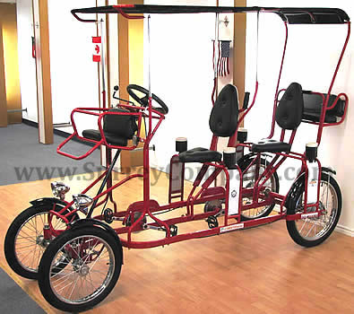 four (4) wheel, four (4) two (2) person Surrey bike bicycle quadricycle