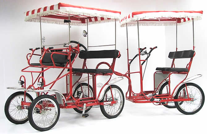 Surrey cycle, surrey bike, 4 wheel bicycle, 4 person bicycle, Surrey Trailer